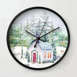 Country Church in Snow Wall Clock