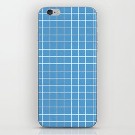 Carolina blue - turquoise color - White Lines Grid Pattern iPhone Skin