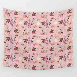 Eastern delight Japanese garden, pink. Wall Tapestry