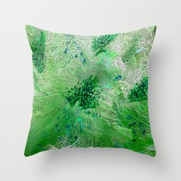 Green Lace Azalea Abstract  Throw Pillow