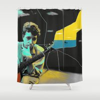 bob dylan Shower Curtains featuring Bob Dylan by Zmudartist