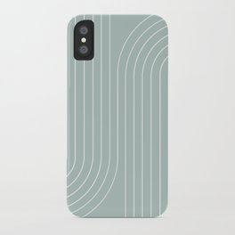 Minimal Line Curvature - Sage iPhone Case