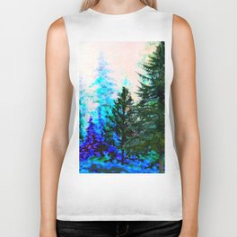 SCENIC BLUE MOUNTAIN GREEN PINE FOREST Biker Tank