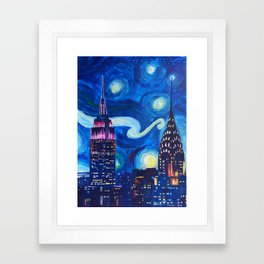 Starry Night in New York - Van Gogh Inspirations in Manhattan Framed Art Print