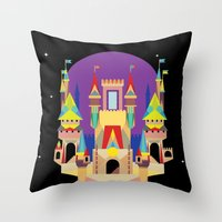 castle Throw Pillows featuring castle  by crayon dreamer