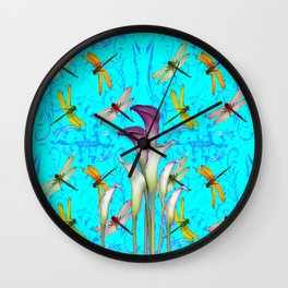 PURPLE CALLA LILIES IN  DRAGONFLY WORLD  ART Wall Clock