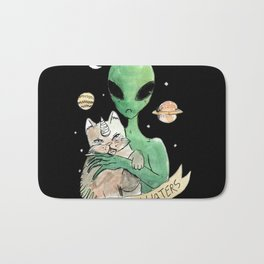 aliens and cats are human haters Bath Mat