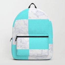 Elegant modern white marble mint checkered Backpack