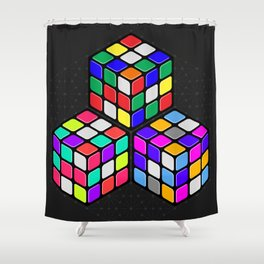 Graphic 947 // Rubik's Cube Isometric Illustration Shower Curtain