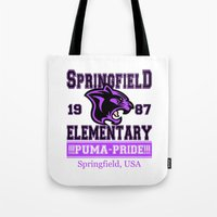 simpsons Tote Bags featuring Springfield Elementary Pumas  |  Simpsons by Silvio Ledbetter
