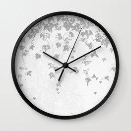 Soft Silver Gray Trailing Ivy Leaf Print Wall Clock