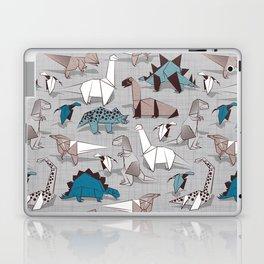 Origami dino friends // grey linen texture blue dinosaurs Laptop & iPad Skin