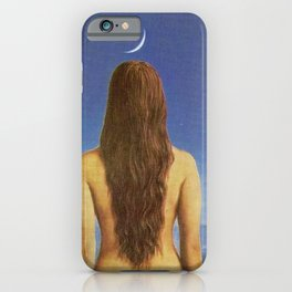 The Evening Gown, Introspective Young Women in Moonlight at the Beach portrait painting  iPhone Case