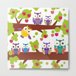 bright colorful owls on the branch of a tree with red apples Metal Print