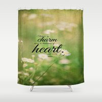 jane austen Shower Curtains featuring Jane Austen Quote Charm Tenderness Heart by KimberosePhotography