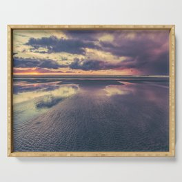 Stormy Beach Sunset Serving Tray