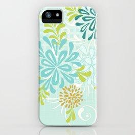 Bold Graphic Mod Mum Modern Chrysanthemum Floral Flower Aqua Blue iPhone Case