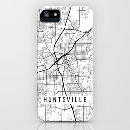 Huntsville Map, Alabama USA - Black & White Portrait iPhone Case