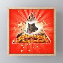 Pussy Rising - positive motivation cat art Framed Mini Art Print