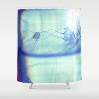 jelly fish Shower Curtains featuring Jelly Fish by Amee Cherie Piek