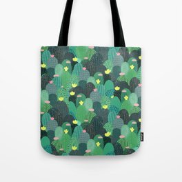 Summer Green Teal Cactus & Gold dots Cute Design Tote Bag