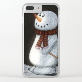 Looking at the stars snowman Clear iPhone Case