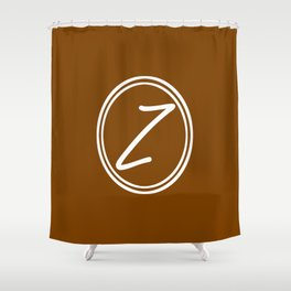 Monogram - Letter Z on Chocolate Brown Background Shower Curtain