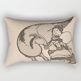 Geisha & Hadrosaure Rectangular Pillow