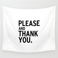 swanson Wall Tapestries featuring Please & Thank You (Ron Swanson) by Uhm.
