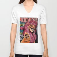 simba V-neck T-shirts featuring Captain Simba Sparrow of Pride Rock by Frances May K