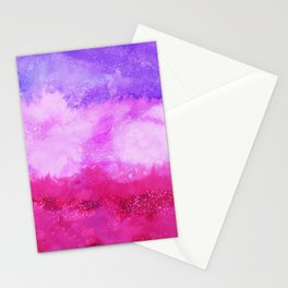 Modern violet lilac neon pink ombre watercolor Stationery Cards