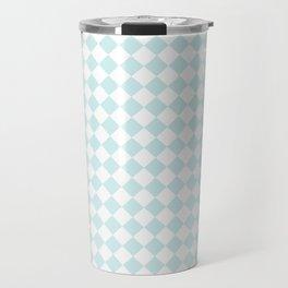 Small Diamonds - White and Light Cyan Travel Mug