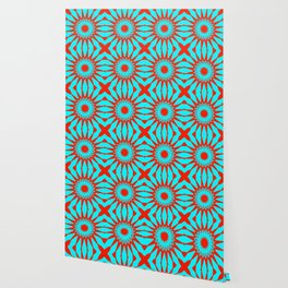 Turquoise & Red Pinwheel Flowers Wallpaper