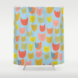 Meow! Colorful Cats Illustration Shower Curtain