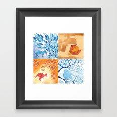 4 small paintings (Bird, Goat, Ladybird and Kangaroo) Framed Art Print