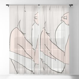 Love and Care Abstract Art Sheer Curtain