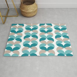 Abstract round teal geometric rows Rug