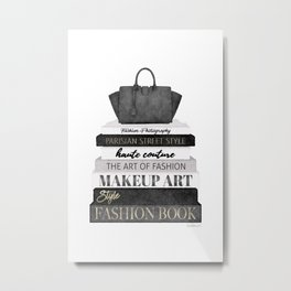 Fashion books, fashion illustration, grey, Black and white, Bag, Hand bag, Style, Art of fashion Metal Print