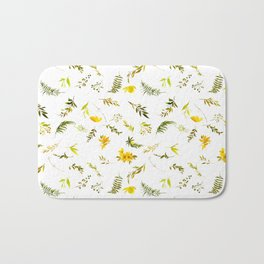 Tropical yellow green watercolor modern leaves floral Bath Mat