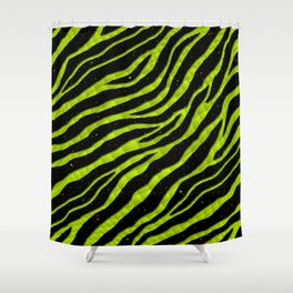 Ripped SpaceTime Stripes - Lime Yellow Shower Curtain