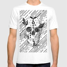 Abstract Skull B&W White Mens Fitted Tee MEDIUM