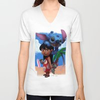 lilo and stitch V-neck T-shirts featuring Lilo & Stitch by Archiri Usagi
