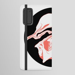 Liquify Skull in black and living coral Android Wallet Case
