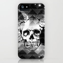bw space skull  iPhone Case