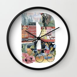 letter D dutch style Wall Clock