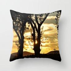 Golden evening Throw Pillow