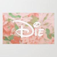 die hard Area & Throw Rugs featuring die by Sara Eshak