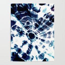 Tie Dye Sunburst Blue Poster