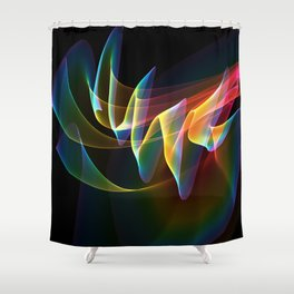 Northern Lights, Abstract Fractal Rainbow Aurora Shower Curtain