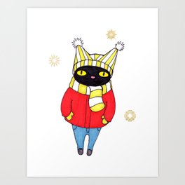 Black Cat Bundled up in Winter Hat, Scarf, Mittens, and Coat Art Print